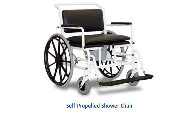 Self propelled shower chair